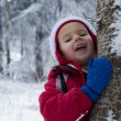 Stock Photo: Boy in winter forest