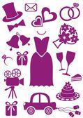 Bruiloft pictogrammen — Stockvector