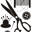 Sewing tools icons — Stock Vector