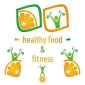 Health and food symbols — Stock Vector