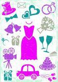 Iconos de boda — Vector de stock