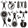 Stock Vector: Health and food symbols