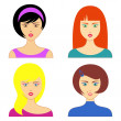 Woman faces — Stock Vector