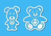 Teddy bear and dog — Vetorial Stock