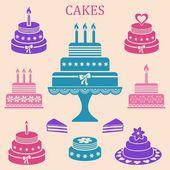 день рождения и свадебные торты — Cтоковый вектор