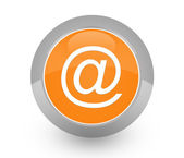 Send e-mail contact button orange white — Stock Photo