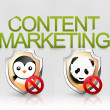 Content marketing algorithm panda penguin seo - Stock Photo