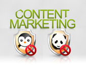 Content marketing algorithm panda penguin seo — Stock Photo