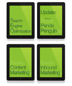 Black tablet with seo, penguin, panda and business concept — Stock Photo