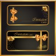 Black gift card with gold ribbon vector — 图库矢量图片