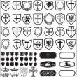Shields and cross heraldy set vector - Stock Vector