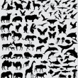 Animals silhouette set vector — Stockvektor