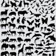 Animals silhouette set vector — Stok Vektör