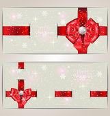 Holiday banners with ribbons — Stock Vector