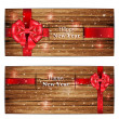 Holiday banners with ribbon — Stock Vector