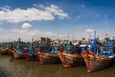 Fishing boats in the harbor Vietnam Mui Ne — Stock Photo
