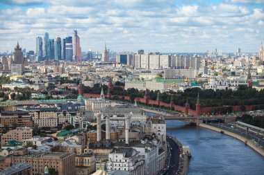 Aerial Moscow center heart panorama