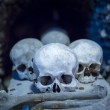 Human skulls and bones in Sedlec Ossuary, Kostnice cemetery church of All Saints in Sedlec — Stock Photo #46051721