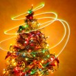 Stock Photo: Christmas Tree Light Painting 1