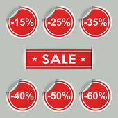 Sale stickers and tags with discounts — Stock Vector