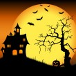 Halloween haunted castle with bats and tree — Stock Vector