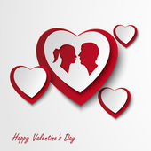 Valentine card with hearts and lovers — Vector de stock