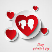 Valentine card with red hearts and lovers — Stock Vector