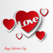 Valentine card with red hearts — Stock Vector