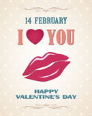 Happy Valentines day retro poster with lips — Stok Vektör