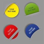 Sada barevné kulaté popisky v kapse — Stock vektor