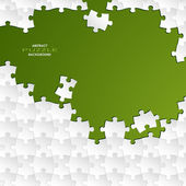 Abstract white group puzzle with green background — Stock vektor