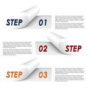 Zestaw kolorowe przykładowe kroki naklejki szablonu — Wektor stockowy