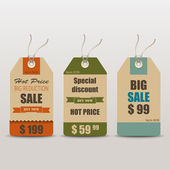 Old retro vintage tag cards for sale — Vector de stock