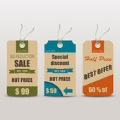 Old retro vintage tag for sale — Vector de stock