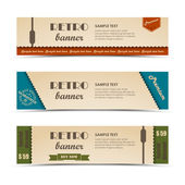 Retro horizontal banners set — Vettoriale Stock