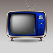 Old blue retro television — Stock Vector