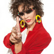 Lady imitating hands firing from gun — Stockfoto