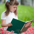 Little cute girl preschooler with book on plaid in park — Stock Photo #15339669