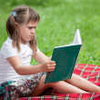 Little cute girl preschooler with book on plaid in park — Stock Photo #15339679