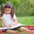 Little cute girl preschooler with book on plaid in park — Stock Photo #15339689