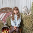 Portrait of girl villager, cat on hay stack in barn — Stock Photo