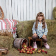 Portrait of girl villager near pail with  apples in hayloft - Stock Photo