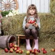 Portrait of girl villager with  basket apples in hayloft - Stock Photo