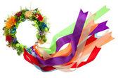 Wreath with satin ribbons, symbol of National Ukrainian folk cos — Stock Photo