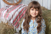 Portrait of girl villager in wooden hayloft with vintage decor — Stock Photo