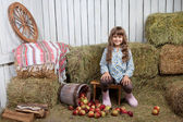 Portrait of girl villager near pail with apples in hayloft — Stock Photo