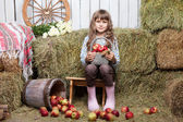 Portrait of girl villager with basket apples in hayloft — Stock Photo