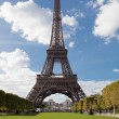 National landmark Eiffel tower through trees in Paris France — Stock Photo #15340271