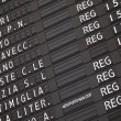 Electronic train timetable close-up on railway station in Italy — Stock Photo