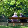 Grandparents are talking on the bench in the spring park - Stock Photo
